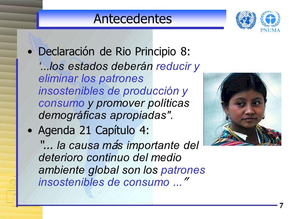 7 Antecedentes Declaración de Rio Principio 8:...los estados deberán reducir y eliminar los patrones insostenibles de producción y consumo y promover