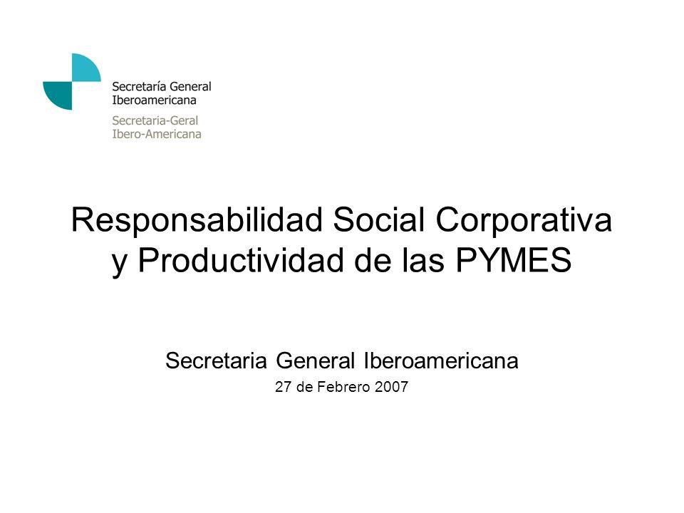 Responsabilidad Social Corporativa y Productividad de las PYMES Secretaria General Iberoamericana 27 de Febrero 2007