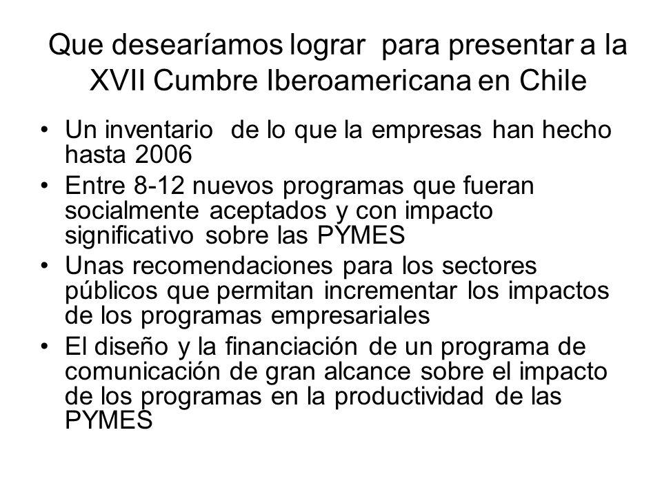 Que desearíamos lograr para presentar a la XVII Cumbre Iberoamericana en Chile Un inventario de lo que la empresas han hecho hasta 2006 Entre 8-12 nuevos programas que fueran socialmente aceptados y con impacto significativo sobre las PYMES Unas recomendaciones para los sectores públicos que permitan incrementar los impactos de los programas empresariales El diseño y la financiación de un programa de comunicación de gran alcance sobre el impacto de los programas en la productividad de las PYMES