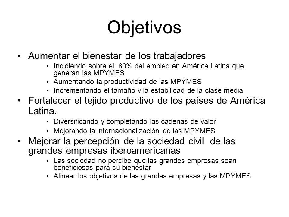 Objetivos Aumentar el bienestar de los trabajadores Incidiendo sobre el 80% del empleo en América Latina que generan las MPYMES Aumentando la productividad de las MPYMES Incrementando el tamaño y la estabilidad de la clase media Fortalecer el tejido productivo de los países de América Latina.