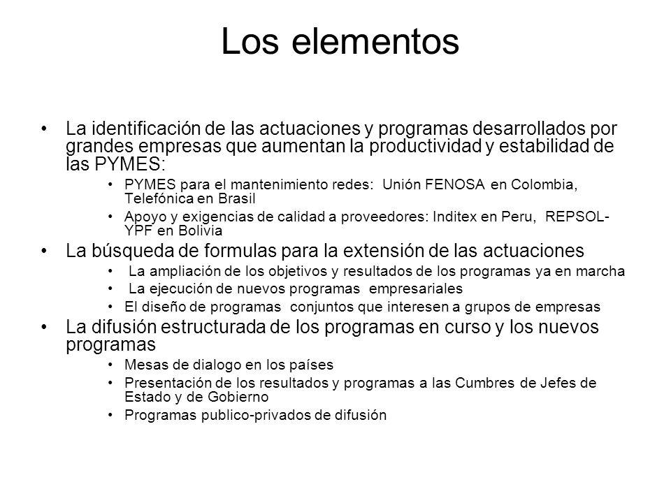 Los elementos La identificación de las actuaciones y programas desarrollados por grandes empresas que aumentan la productividad y estabilidad de las PYMES: PYMES para el mantenimiento redes: Unión FENOSA en Colombia, Telefónica en Brasil Apoyo y exigencias de calidad a proveedores: Inditex en Peru, REPSOL- YPF en Bolivia La búsqueda de formulas para la extensión de las actuaciones La ampliación de los objetivos y resultados de los programas ya en marcha La ejecución de nuevos programas empresariales El diseño de programas conjuntos que interesen a grupos de empresas La difusión estructurada de los programas en curso y los nuevos programas Mesas de dialogo en los países Presentación de los resultados y programas a las Cumbres de Jefes de Estado y de Gobierno Programas publico-privados de difusión