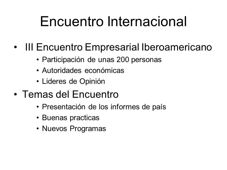 Encuentro Internacional III Encuentro Empresarial Iberoamericano Participación de unas 200 personas Autoridades económicas Lideres de Opinión Temas del Encuentro Presentación de los informes de país Buenas practicas Nuevos Programas