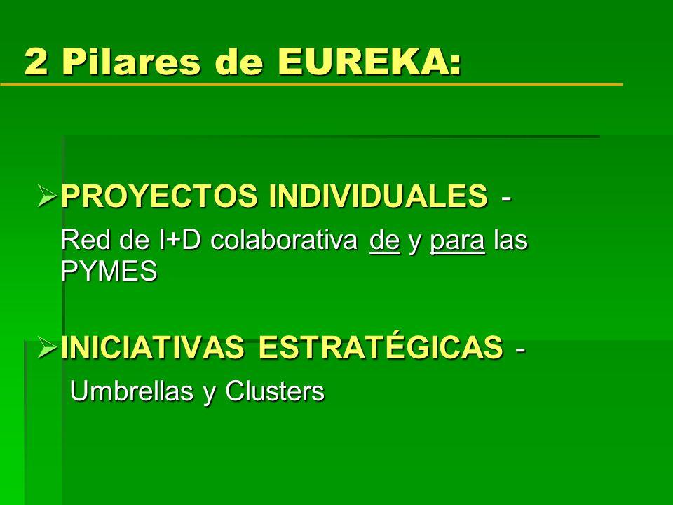 2 Pilares de EUREKA: PROYECTOS INDIVIDUALES - PROYECTOS INDIVIDUALES - Red de I+D colaborativa de y para las PYMES INICIATIVAS ESTRATÉGICAS - INICIATIVAS ESTRATÉGICAS - Umbrellas y Clusters Umbrellas y Clusters