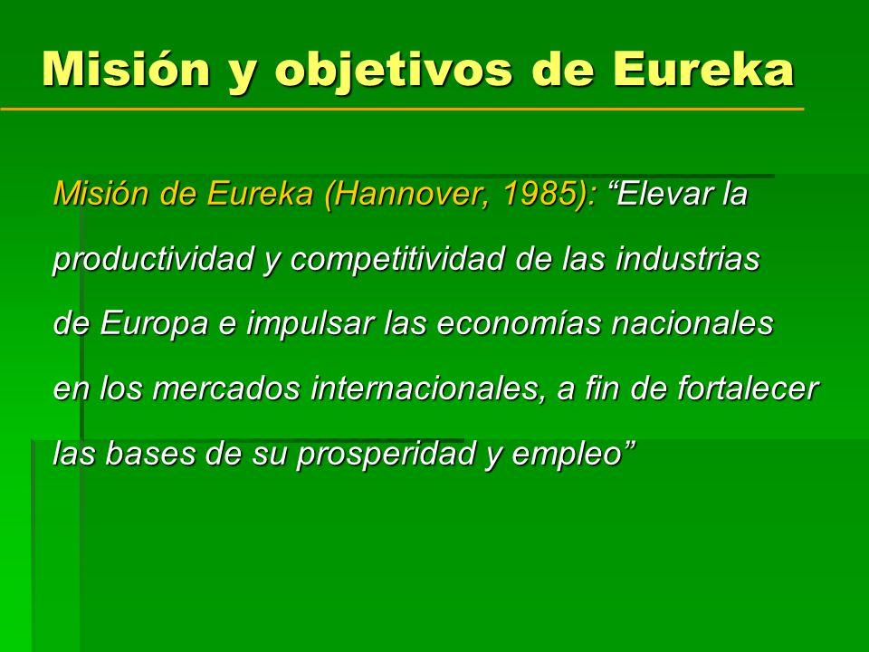 Misión y objetivos de Eureka Misión de Eureka (Hannover, 1985): Elevar la productividad y competitividad de las industrias de Europa e impulsar las economías nacionales en los mercados internacionales, a fin de fortalecer las bases de su prosperidad y empleo