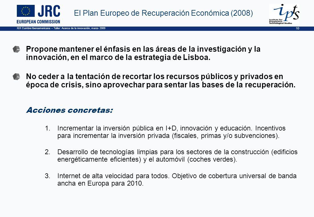 XIX Cumbre Iberoamericana – Taller: Acerca de la innovación, marzo 2009 10 El Plan Europeo de Recuperación Económica (2008) Propone mantener el énfasis en las áreas de la investigación y la innovación, en el marco de la estrategia de Lisboa.