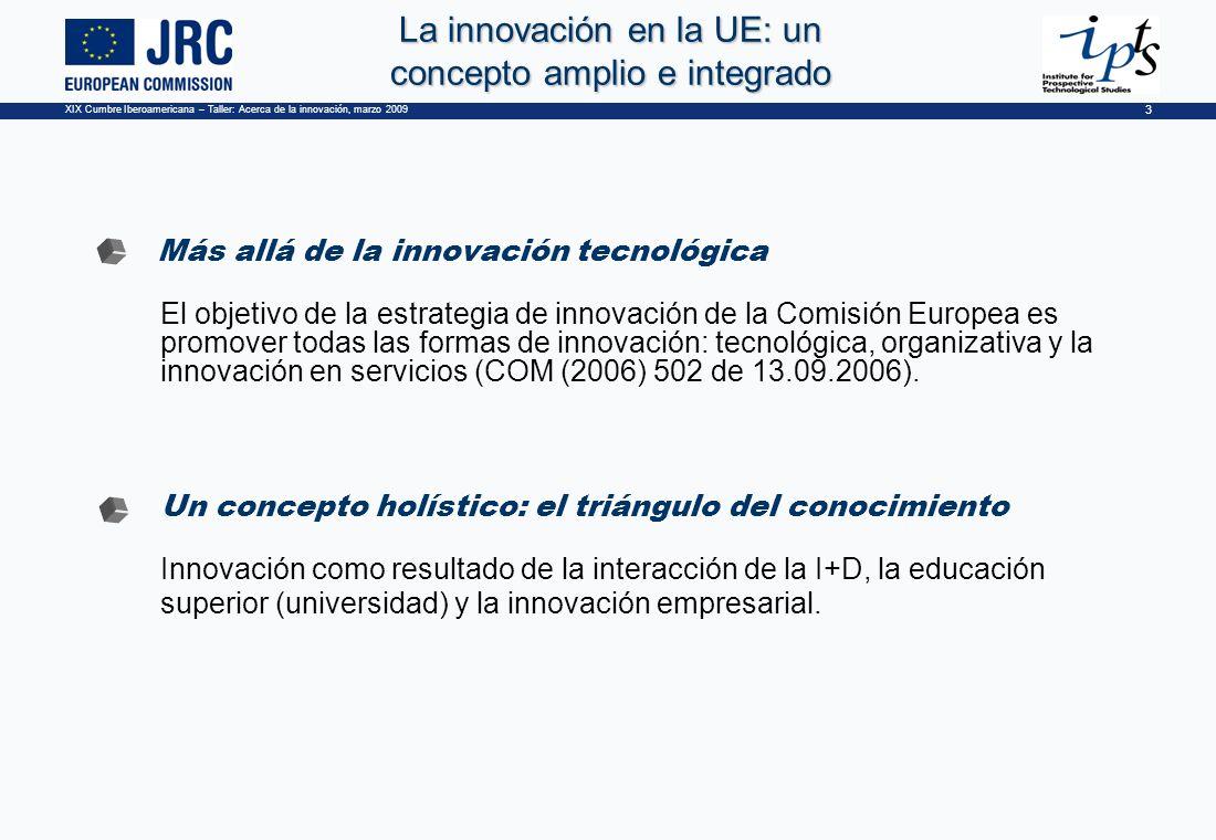 XIX Cumbre Iberoamericana – Taller: Acerca de la innovación, marzo 2009 3 La innovación en la UE: un concepto amplio e integrado Más allá de la innovación tecnológica El objetivo de la estrategia de innovación de la Comisión Europea es promover todas las formas de innovación: tecnológica, organizativa y la innovación en servicios (COM (2006) 502 de 13.09.2006).