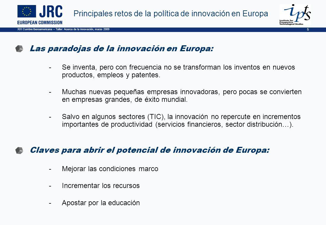 XIX Cumbre Iberoamericana – Taller: Acerca de la innovación, marzo 2009 5 Principales retos de la política de innovación en Europa Las paradojas de la innovación en Europa: -Se inventa, pero con frecuencia no se transforman los inventos en nuevos productos, empleos y patentes.