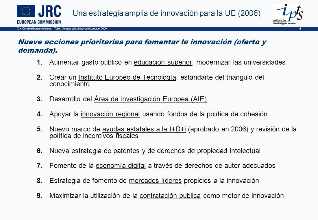XIX Cumbre Iberoamericana – Taller: Acerca de la innovación, marzo 2009 6 Una estrategia amplia de innovación para la UE (2006) Nueve acciones prioritarias para fomentar la innovación (oferta y demanda).