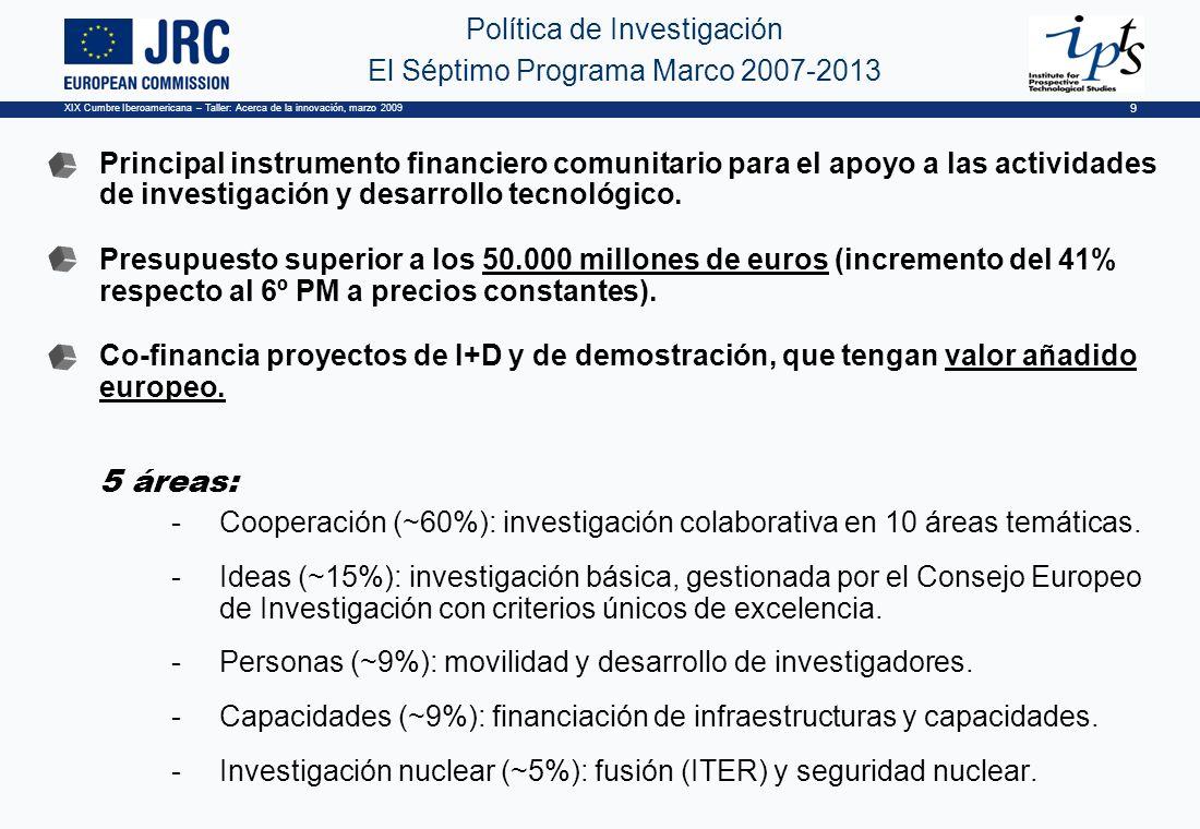 XIX Cumbre Iberoamericana – Taller: Acerca de la innovación, marzo 2009 9 Política de Investigación El Séptimo Programa Marco 2007-2013 Principal instrumento financiero comunitario para el apoyo a las actividades de investigación y desarrollo tecnológico.