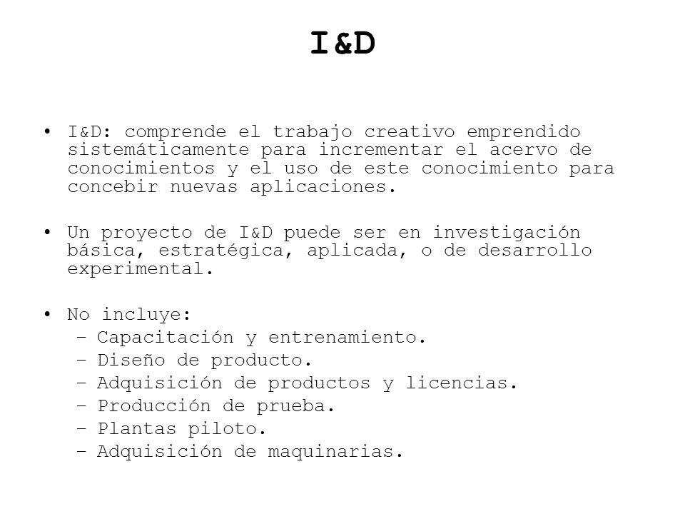 I&D I&D: comprende el trabajo creativo emprendido sistemáticamente para incrementar el acervo de conocimientos y el uso de este conocimiento para conc