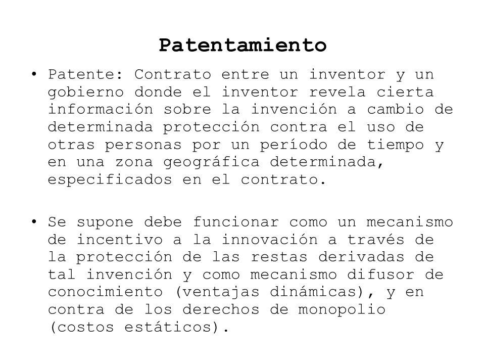 Patentamiento Patente: Contrato entre un inventor y un gobierno donde el inventor revela cierta información sobre la invención a cambio de determinada