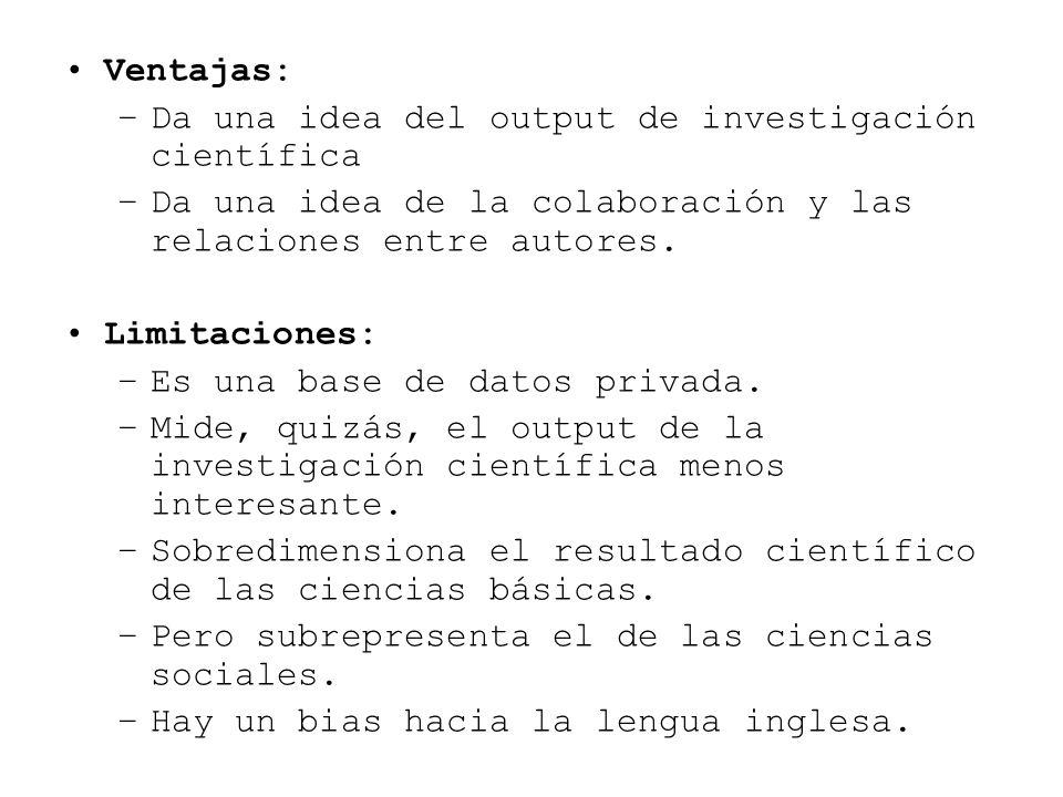 Ventajas: –Da una idea del output de investigación científica –Da una idea de la colaboración y las relaciones entre autores. Limitaciones: –Es una ba