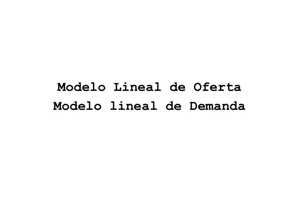 Modelo Lineal de Oferta Modelo lineal de Demanda