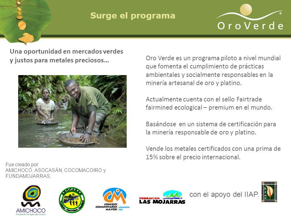 Oro Verde es un programa piloto a nivel mundial que fomenta el cumplimiento de prácticas ambientales y socialmente responsables en la minería artesana