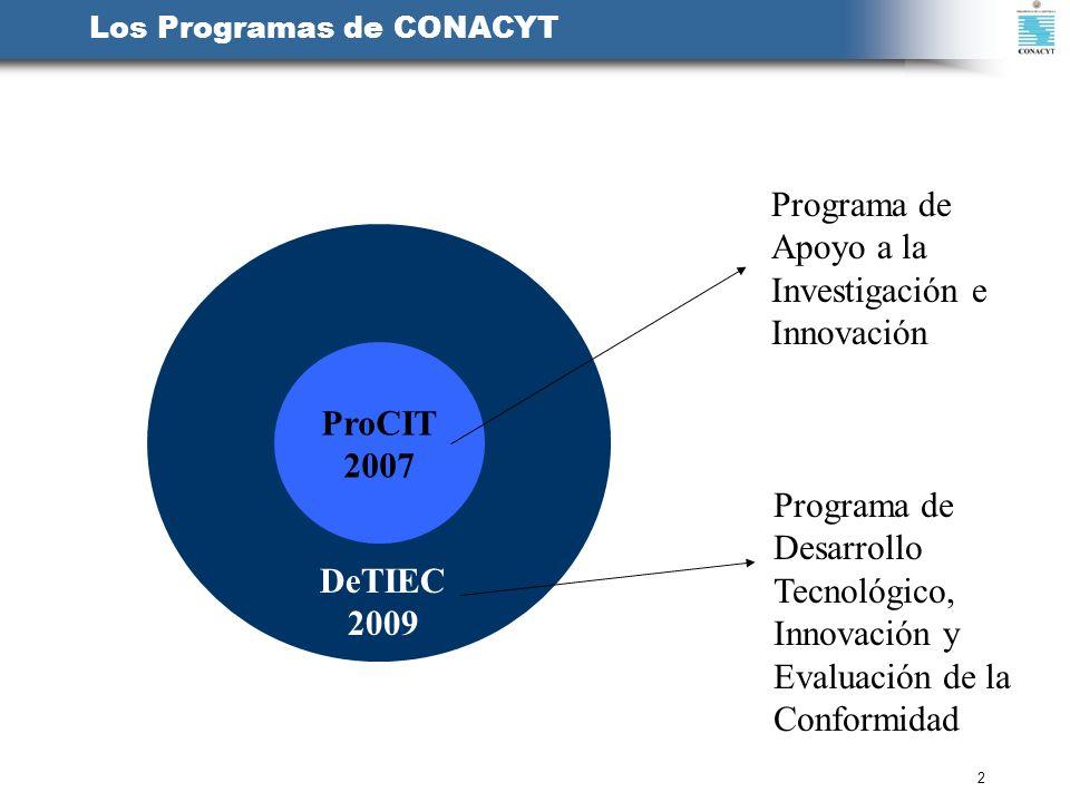 2 Los Programas de CONACYT ProCIT 2007 DeTIEC 2009 Programa de Apoyo a la Investigación e Innovación Programa de Desarrollo Tecnológico, Innovación y