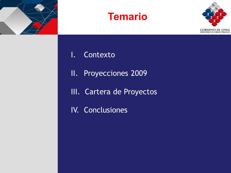 Temario I.Contexto II.Proyecciones 2009 III. Cartera de Proyectos IV. Conclusiones