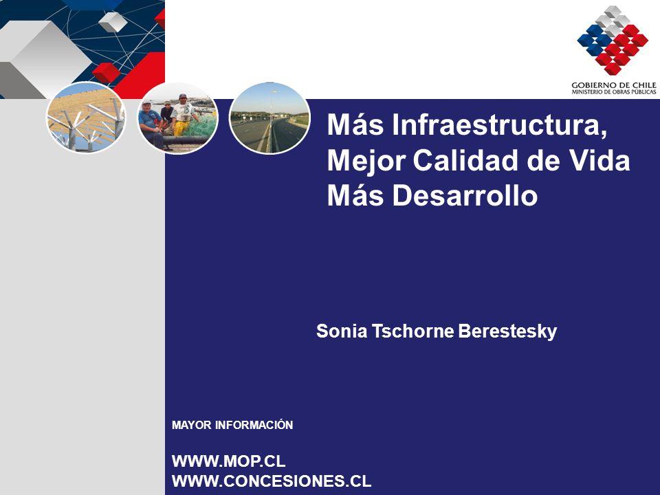 Sonia Tschorne Berestesky Más Infraestructura, Mejor Calidad de Vida Más Desarrollo MAYOR INFORMACIÓN WWW.MOP.CL WWW.CONCESIONES.CL