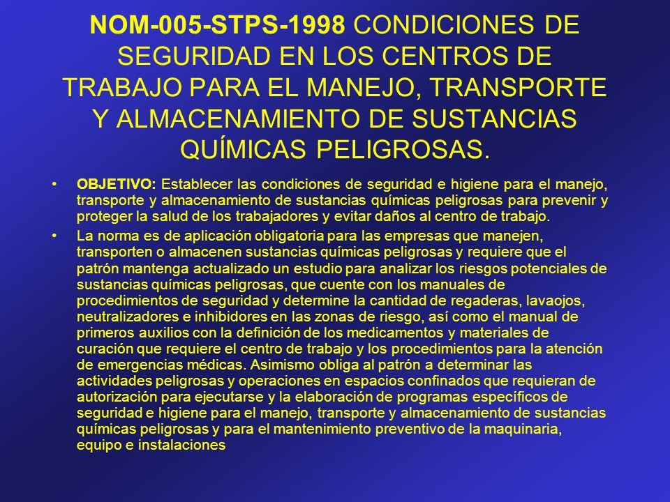 NOM-005-STPS-1998 CONDICIONES DE SEGURIDAD EN LOS CENTROS DE TRABAJO PARA EL MANEJO, TRANSPORTE Y ALMACENAMIENTO DE SUSTANCIAS QUÍMICAS PELIGROSAS. OB