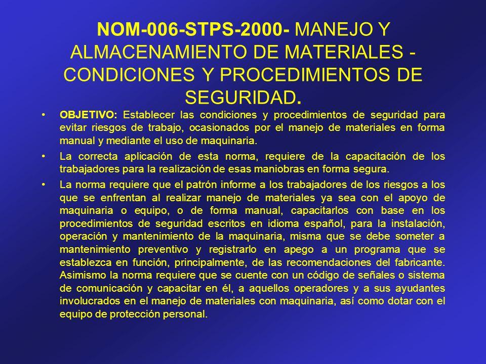 NOM-006-STPS-2000- MANEJO Y ALMACENAMIENTO DE MATERIALES - CONDICIONES Y PROCEDIMIENTOS DE SEGURIDAD. OBJETIVO: Establecer las condiciones y procedimi