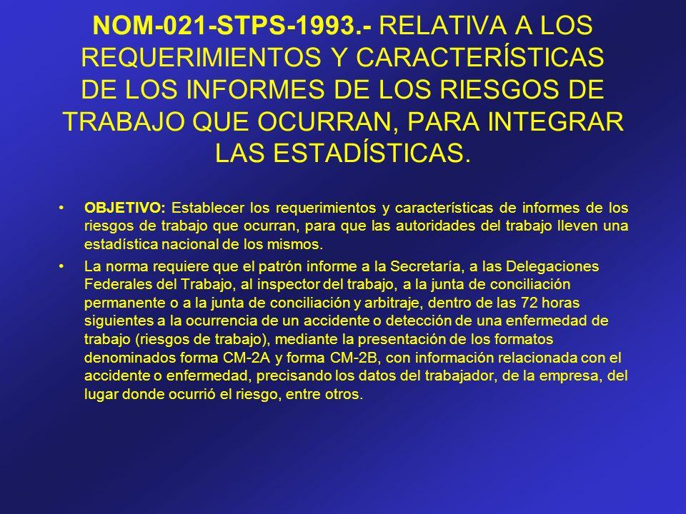 NOM-021-STPS-1993.- RELATIVA A LOS REQUERIMIENTOS Y CARACTERÍSTICAS DE LOS INFORMES DE LOS RIESGOS DE TRABAJO QUE OCURRAN, PARA INTEGRAR LAS ESTADÍSTI