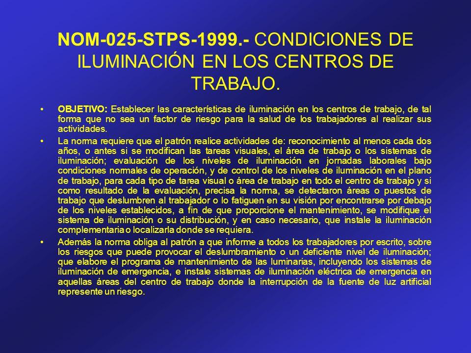 NOM-025-STPS-1999.- CONDICIONES DE ILUMINACIÓN EN LOS CENTROS DE TRABAJO. OBJETIVO: Establecer las características de iluminación en los centros de tr