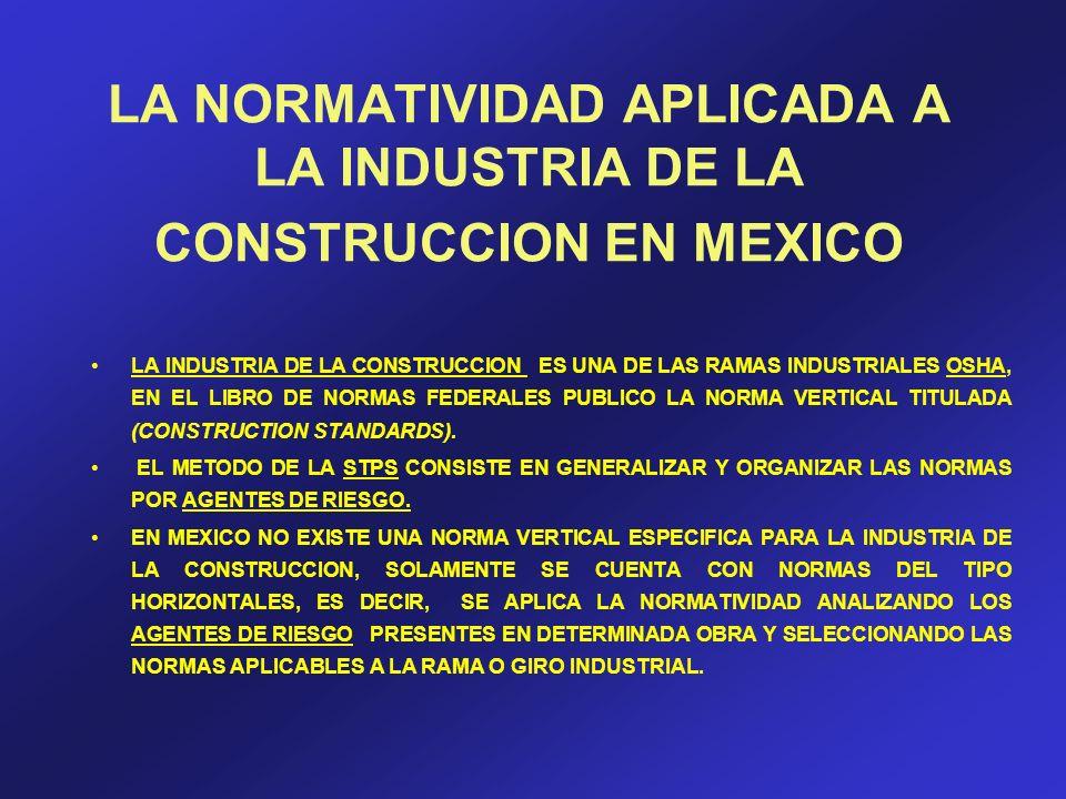 LA NORMATIVIDAD APLICADA A LA INDUSTRIA DE LA CONSTRUCCION EN MEXICO LA INDUSTRIA DE LA CONSTRUCCION ES UNA DE LAS RAMAS INDUSTRIALES OSHA, EN EL LIBR