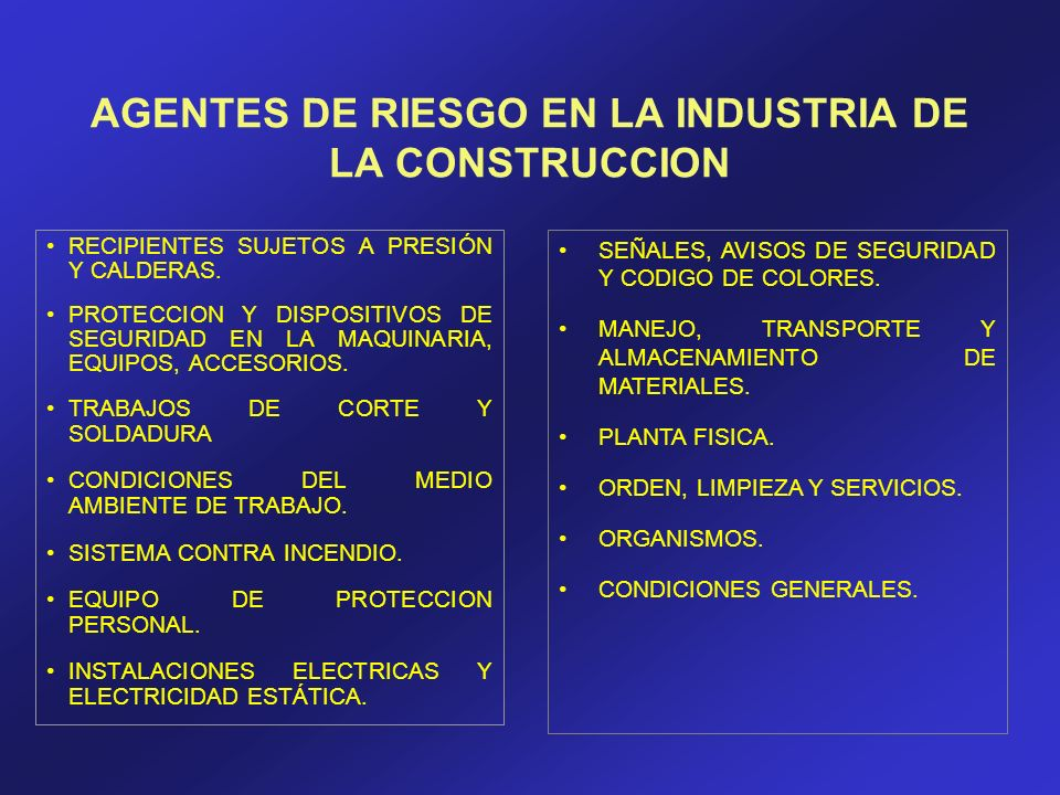 AGENTES DE RIESGO EN LA INDUSTRIA DE LA CONSTRUCCION RECIPIENTES SUJETOS A PRESIÓN Y CALDERAS. PROTECCION Y DISPOSITIVOS DE SEGURIDAD EN LA MAQUINARIA