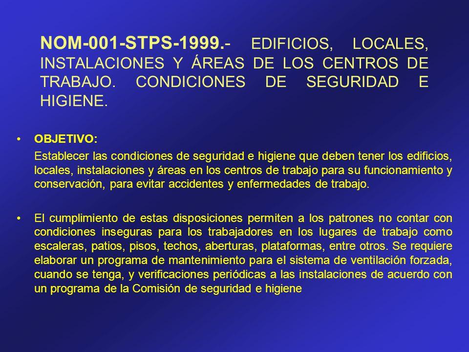 NOM-001-STPS-1999.- EDIFICIOS, LOCALES, INSTALACIONES Y ÁREAS DE LOS CENTROS DE TRABAJO. CONDICIONES DE SEGURIDAD E HIGIENE. OBJETIVO: Establecer las