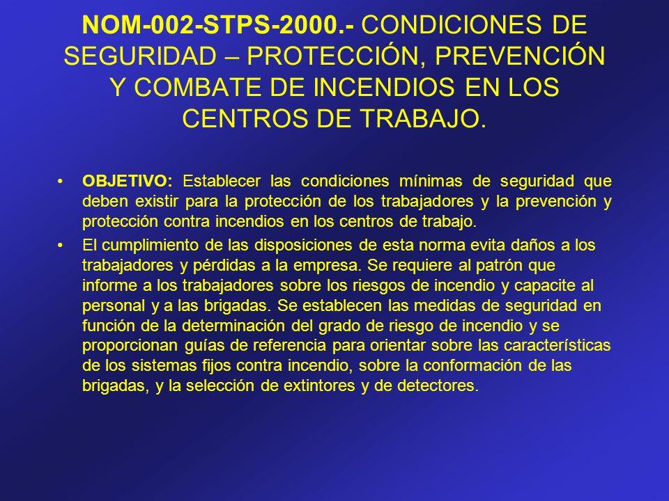 NOM-002-STPS-2000.- CONDICIONES DE SEGURIDAD – PROTECCIÓN, PREVENCIÓN Y COMBATE DE INCENDIOS EN LOS CENTROS DE TRABAJO. OBJETIVO: Establecer las condi