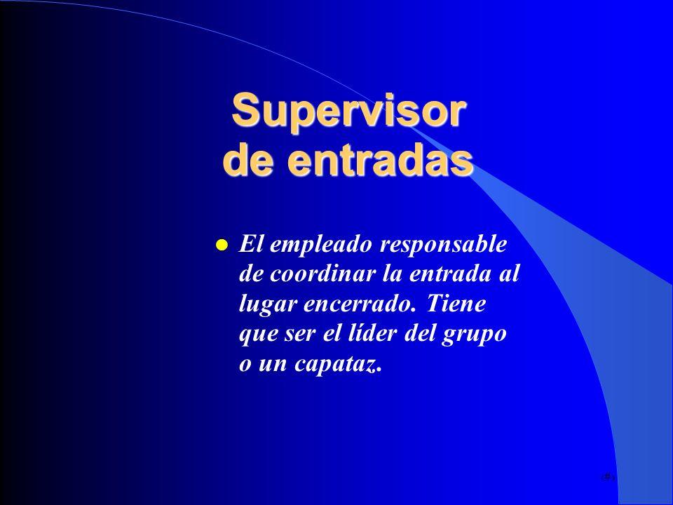 11 Supervisor de entradas El empleado responsable de coordinar la entrada al lugar encerrado. Tiene que ser el líder del grupo o un capataz.