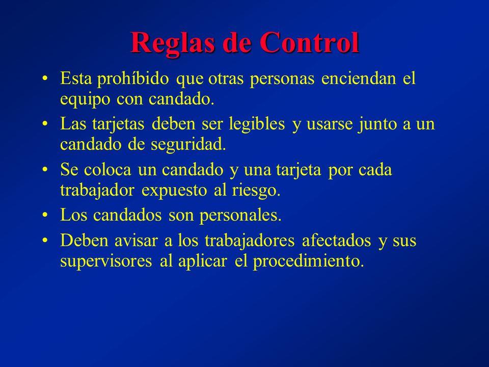 Reglas de Control Esta prohíbido que otras personas enciendan el equipo con candado. Las tarjetas deben ser legibles y usarse junto a un candado de se