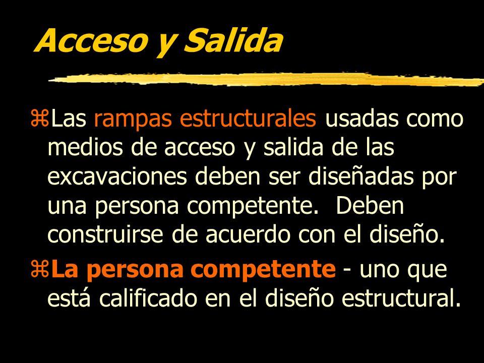 Instalaciones Subterráneas zMientras la excavación está abierta, instalaciones subterráneas deben ser protegidas, apoyadas, o removidas como sea neces