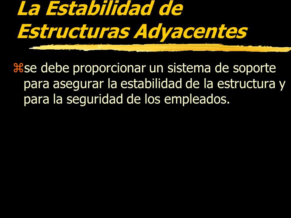 La Estabilidad de Estructuras Adyacentes zCuando las operaciones de excavación pongan en peligro la estabilidad de las estructuras adyacentes de yedif
