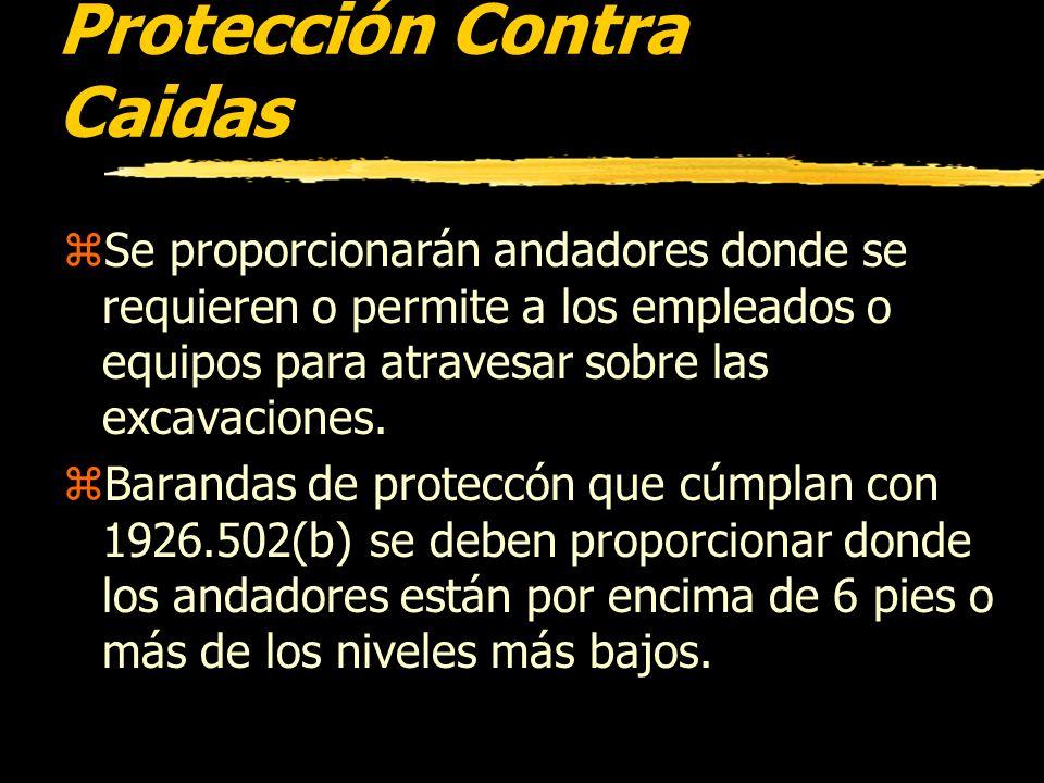 Inspecciones zUna persona competente debe realizar inspecciones diarias de las excavaciones, las áreas adyacentes y los sistemas de protección. zSe ha