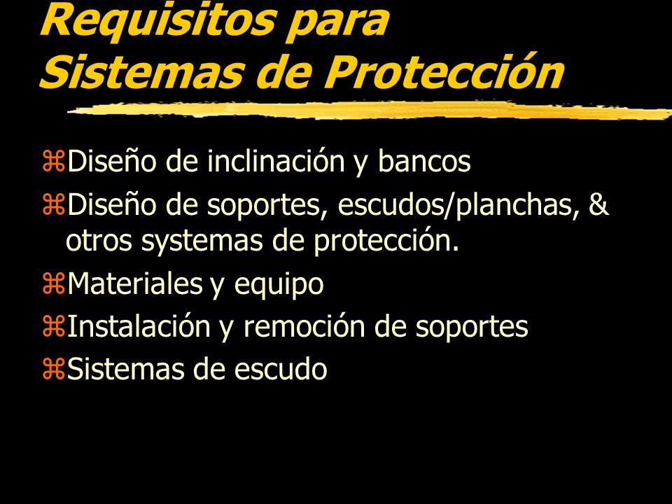 Requisitos para Sistemas de Protección zCada empleado en una excavación debe ser protegido de los hundimientos por un sistema de proteccio adecuado, d