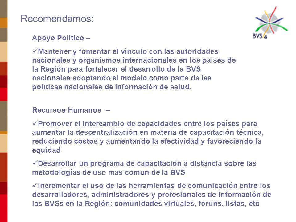 Gestionar al interior de cada país la asignación de presupuesto que permita el desarrollo de la infraestructura necesaria para la operación de las BVSs Recomendamos: Promover iniciativas de proyectos de cooperación entre países de la Región (TCC) Explorar y evaluar fuentes de financiamiento con organismos y empresas privadas Fortalecer la presencia, apoyo técnico y político de la OPS a través de BIREME y de las Representaciones en los países para el desarrollo de la BVS en toda la Región, priorizando Centro América y Caribe.
