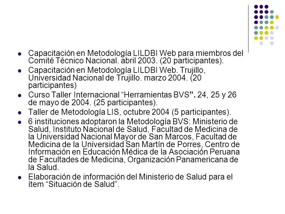 Capacitación en Metodología LILDBI Web para miembros del Comité Técnico Nacional.