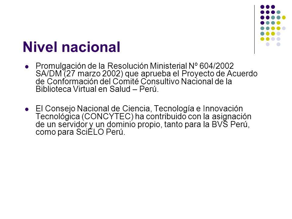 Nivel nacional Promulgación de la Resolución Ministerial Nº 604/2002 SA/DM (27 marzo 2002) que aprueba el Proyecto de Acuerdo de Conformación del Comité Consultivo Nacional de la Biblioteca Virtual en Salud – Perú.