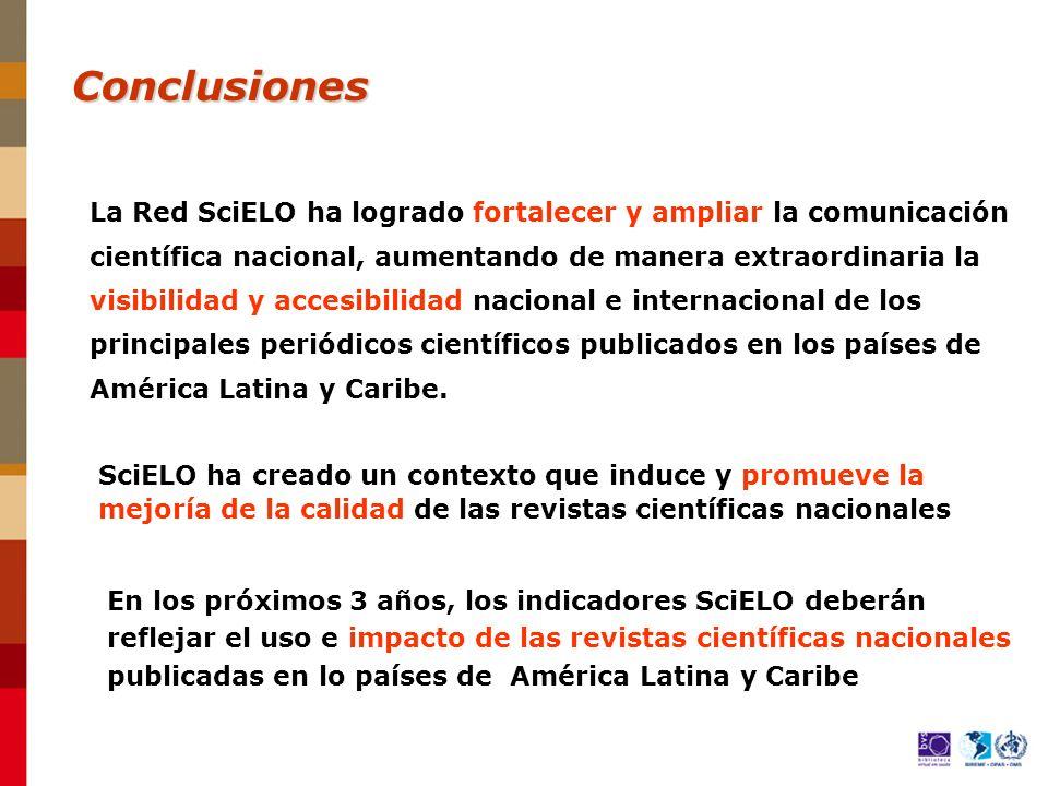 La Red SciELO ha logrado fortalecer y ampliar la comunicación científica nacional, aumentando de manera extraordinaria la visibilidad y accesibilidad nacional e internacional de los principales periódicos científicos publicados en los países de América Latina y Caribe.