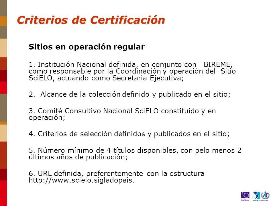 Sitios en operación regular 1.