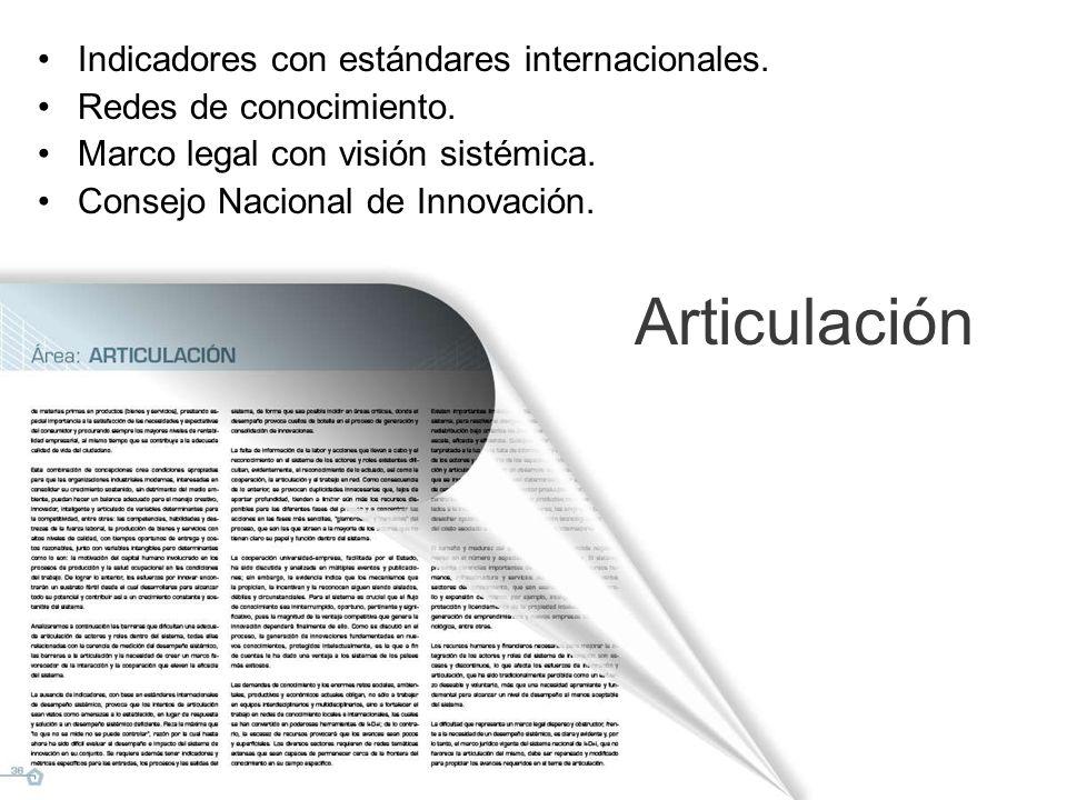 Articulación Indicadores con estándares internacionales.