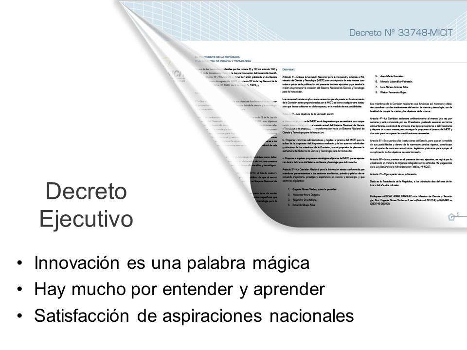 Decreto Ejecutivo Innovación es una palabra mágica Hay mucho por entender y aprender Satisfacción de aspiraciones nacionales