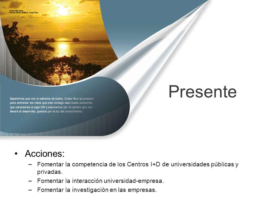 Presente Acciones: –Fomentar la competencia de los Centros I+D de universidades públicas y privadas.