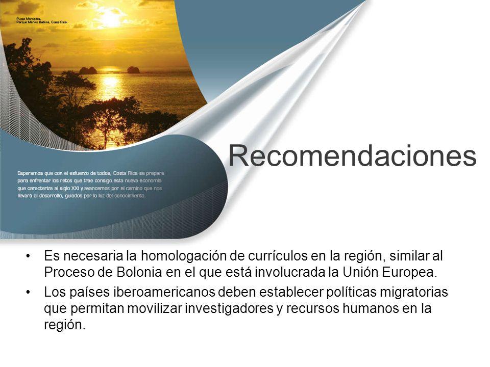 Recomendaciones Es necesaria la homologación de currículos en la región, similar al Proceso de Bolonia en el que está involucrada la Unión Europea.