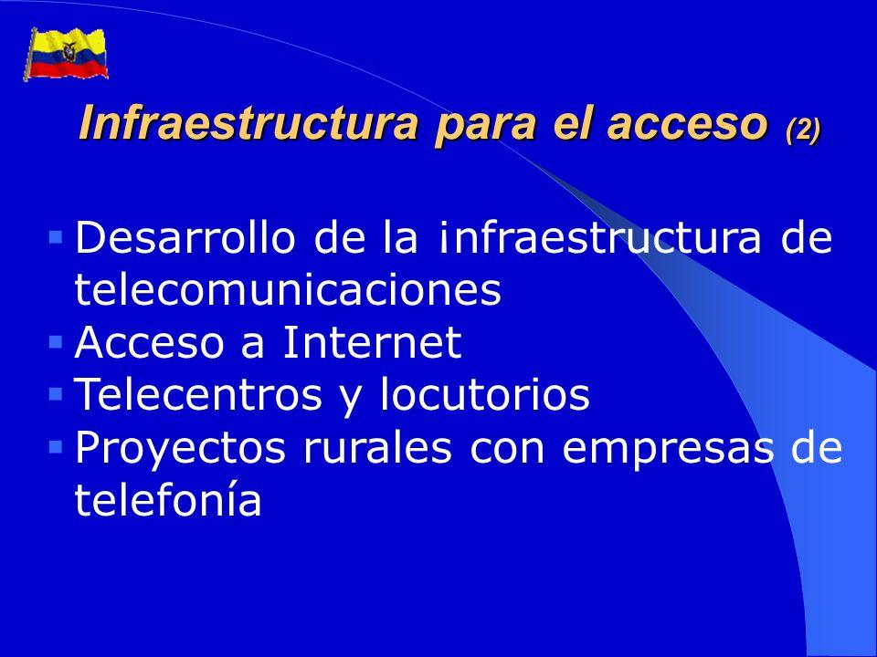 (1) Agenda Nacional de conectividad (Decreto Ejecutivo No 3393, 27 de noviembre de 2002) Ejes o programas estratégicos: Infraestructura para el acceso Programas de Teleducación y Telesalud