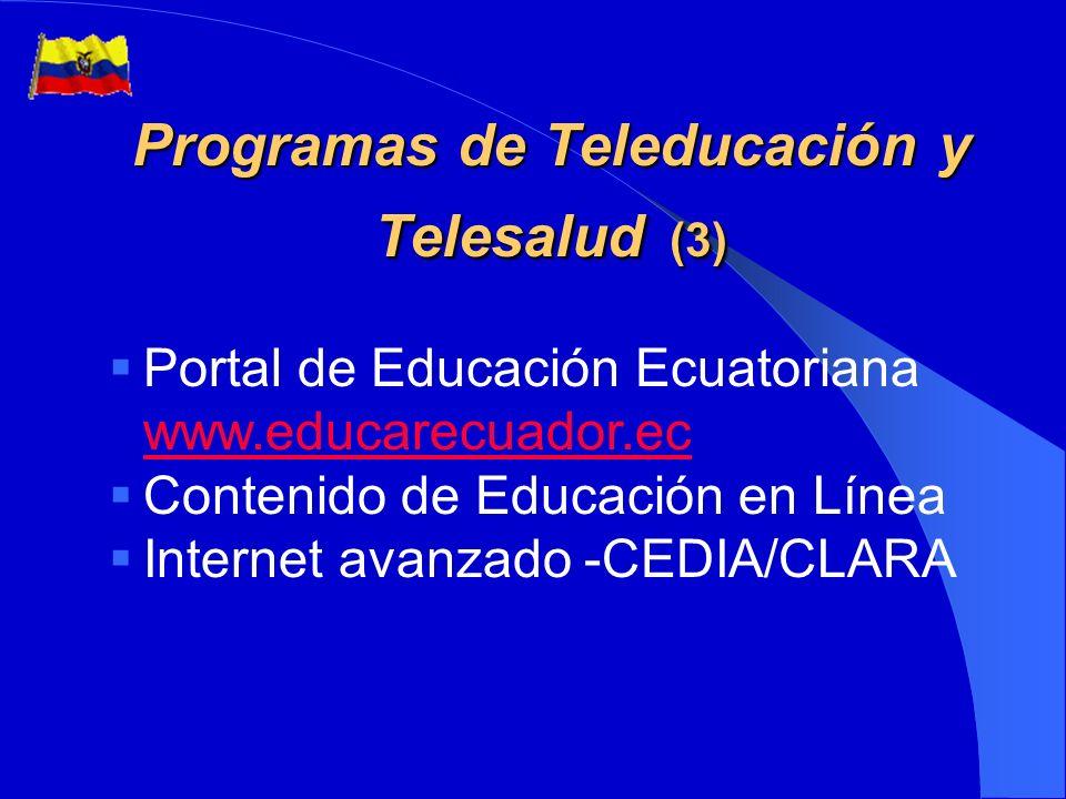 Infraestructura para el acceso (2) Desarrollo de la ¡nfraestructura de telecomunicaciones Acceso a Internet Telecentros y locutorios Proyectos rurales con empresas de telefonía
