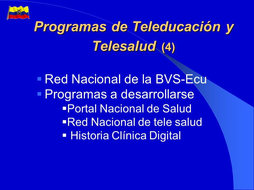 Programas de Teleducación y Telesalud (3) Portal de Educación Ecuatoriana www.educarecuador.ec www.educarecuador.ec Contenido de Educación en Línea Internet avanzado -CEDIA/CLARA