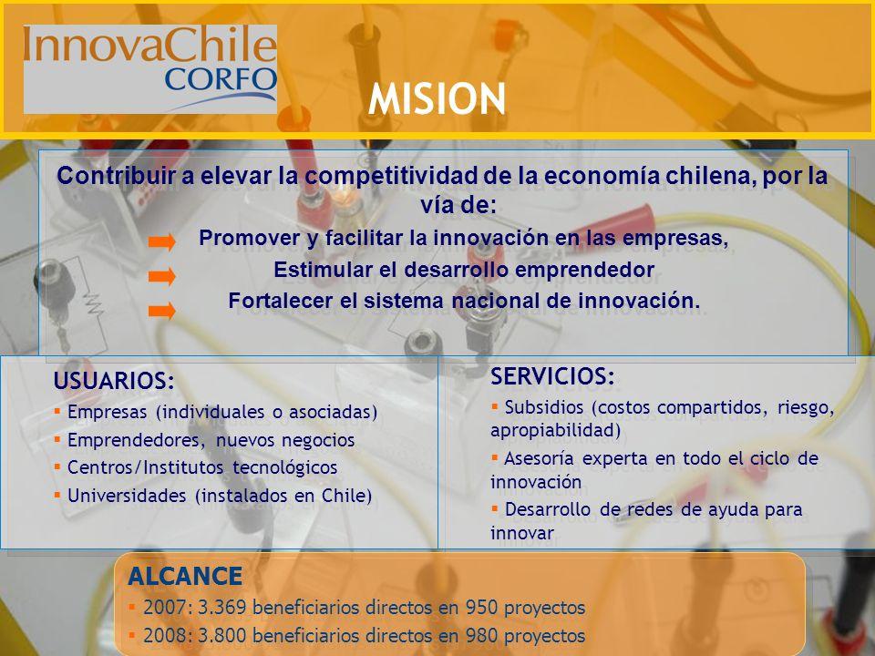 USUARIOS: Empresas (individuales o asociadas) Emprendedores, nuevos negocios Centros/Institutos tecnológicos Universidades (instalados en Chile) USUAR