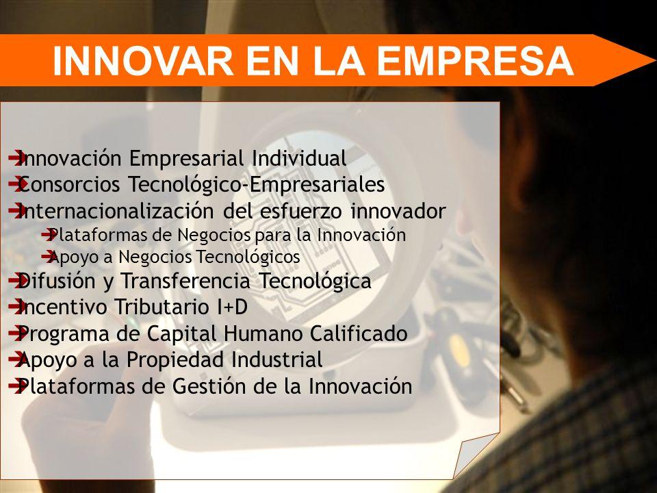 INNOVAR EN LA EMPRESA Innovación Empresarial Individual Consorcios Tecnológico-Empresariales Internacionalización del esfuerzo innovador Plataformas d