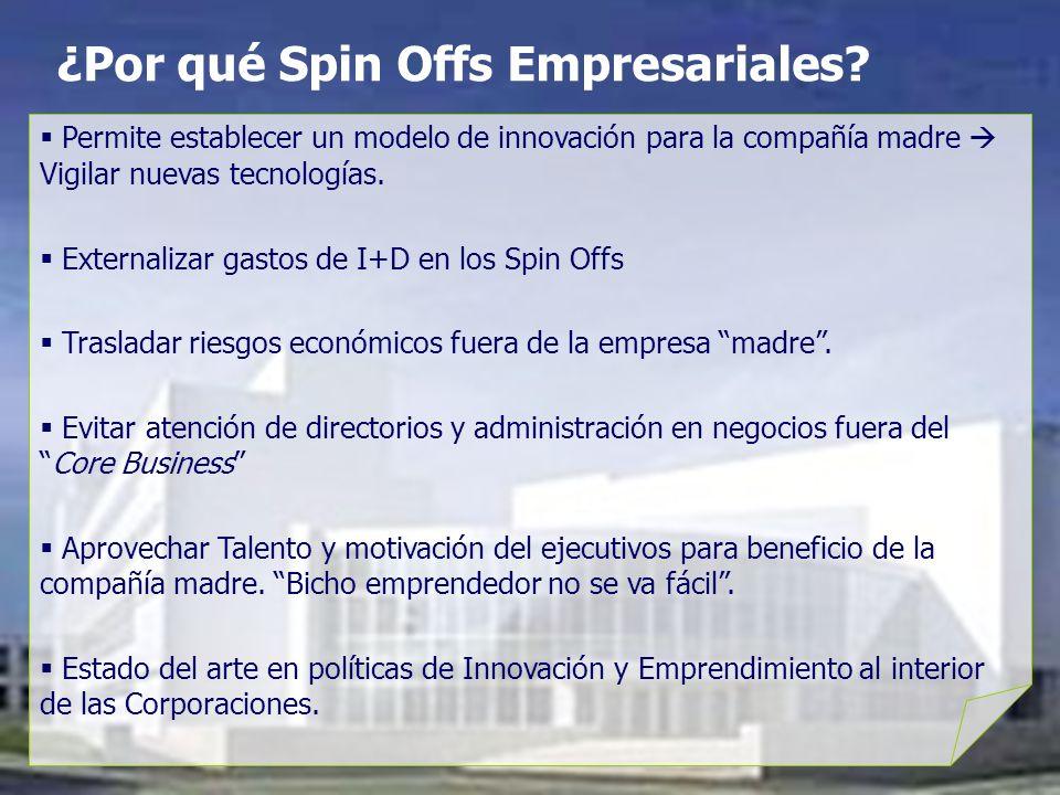 ¿Por qué Spin Offs Empresariales? Permite establecer un modelo de innovación para la compañía madre Vigilar nuevas tecnologías. Externalizar gastos de